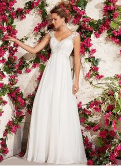 Empire V-neck Court Train Chiffon Wedding Dress With Beading Appliques Lace