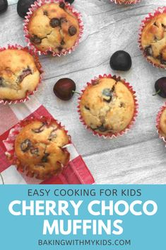 These cherry chocolate muffins are a fantastic flavour combination and a great bake for kids to try. #muffins #cherry #chocolate #fresh #recipe #easy #recipe easy #chocolate chip #kids baking Easy Baking For Kids, Cooking With Kids Easy, Breakfast On The Go, Perfect Breakfast, Chocolate Muffins, Chocolate Cupcakes, Baking Recipes, Snack Recipes, Snacks