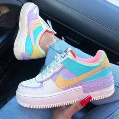Back to the with these amazing new sneakers from Nike. They come in the original design of the Air Force 1 but then with double layered details. In beautiful pastel rainbow colors. Named Nike Air Force 1 Shadow Pale… Cute Sneakers, New Sneakers, Sneakers Fashion, Fashion Shoes, Colorful Sneakers, Fashion Clothes, Sneakers For Girls, Colorful Nike Shoes, Cool Nike Shoes