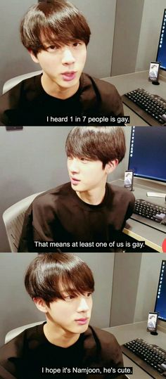 BTS JIN RM namjin gay edit What if J-Hope was actually gay? Like, he's usually not in the main three ships, so it would be ironic if it was him. Namjin, K Pop, Bts Jin, Image Hilarante, Vkook Memes, Memes In Real Life, Bts Memes Hilarious, Worldwide Handsome, Yoonmin