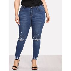 259e8cf1876 Plus Pearl Embellished Ripped Raw Hem Jeans  fashion  clothing  shoes   accessories  womensclothing  jeans (ebay link)