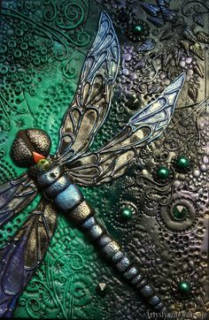Dragonfly book cover-polymer clay by MonikaMaria84.deviantart.com on @DeviantArt