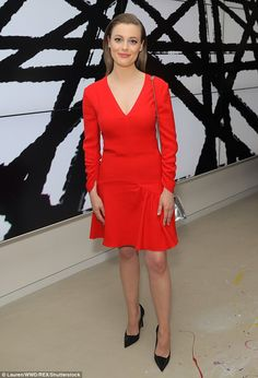 Ravishing in red: The 34-year-old actress donned a red mini dress...