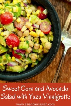This bright and delicious Sweet Corn and Avocado Salad has so much flavor from the lemony Yuzu vinaigrette. It's the perfect summer picnic salad! This healthy summer salad is perfect for your next cookout, fourth of July, or Labor Day celebration! #easysaladrexipe #heatlhysidedish #cookoutrecipes #picnicrecipes Healthy Asian Recipes, Asian Dinner Recipes, Side Dish Recipes, Healthy Dinner Recipes, Vegetarian Recipes, Summer Picnic Salads, Picnic Foods, Asian Cucumber Salad, Corn Avocado Salad