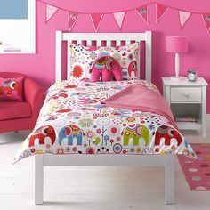 Buy little home at John Lewis Abbey Elephant Duvet Cover and Pillowcase Set, Single Online at johnlewis.com