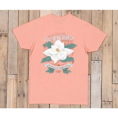 Washed Peach Heather - 100% Cotton - Garment Washed - Heather Fabric - Festival Design on Back - Mallard Silhouette Logo on Front - Traditional Fit - Pocket Tee