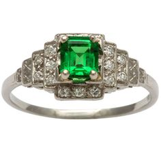 Art Deco Diamond Tsavorite Tsavorite Ring, Art Deco style, circa 1950s [If this is Tsavorite, it's not original to the ring or the ring is mis-dated]
