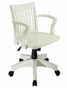 Bankers Wood Swivel Chair White Finish Espresso Padded Seat 15299