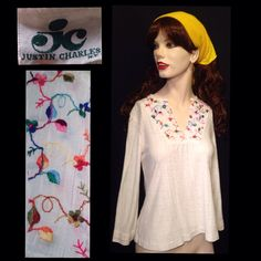 Vintage 1970's White Cotton V Neck Long Sleeve Peasant Top Size S,Rainbow…