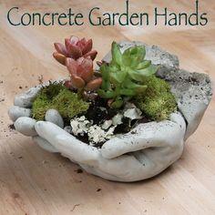 Handen van cement en plantjes