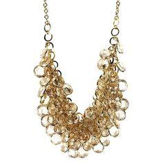 Women's Bib Necklace - Clear/Gold