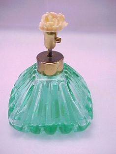 **SOLD!** I Rice Perfume Bottle Crystal Green Spray Pump Atomizer with Lucite Flower  1930s-1950s    **This item has sold, but please come by and browse our shop for a similar item!**