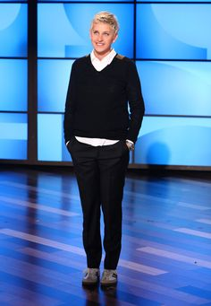 Ellen's Look of the Day: Comme des Garçons white button down shirt, topped off with a Dries Van Noten sweater and Adidas Samba shoes.