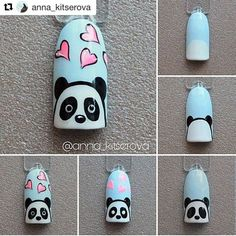 Pin on White Coffin Shaped Nails Pin on White Coffin Shaped Nails Nail Art Hacks, Nail Art Diy, Easy Nail Art, Panda Nail Art, Animal Nail Art, Pretty Nail Designs, Nail Art Designs, Cartoon Nail Designs, Nail Art For Kids