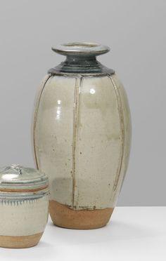 RICHARD BATTERHAM studio pottery VASE stoneware ash glaze - Bernard Leach link