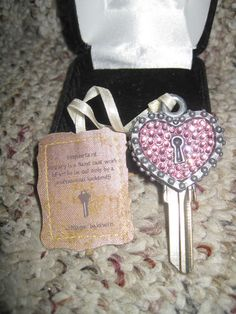 'Keys To My Castle' Custom Made Couture Key - Pink Swarovski Crystal 'Key To My Heart' - AMAZING Valentine's Day Gift!!!