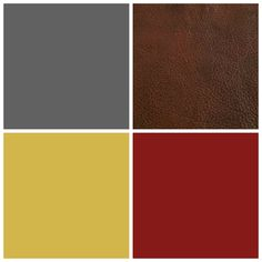 Tuscan Neutrals - Our living room color palette. Charcoal Gray / Country Red / Espresso Brown / Yellow Gold. Leather and gray upholstered furniture, red wood accents and warm brass fixtures.