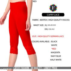 Leggings & Tights  Fabulous Women's Legging Fabric: Vertex Waist Size: XL- 26 in To 30 in  XXL - 32 in To 34 in Length: Up To 34 in Type: Stitched Description: It Has 1 Piece Of Women's Trouser  Work:  Capri Lace Work Country of Origin: India Sizes Available: XL, XXL *Proof of Safe Delivery! Click to know on Safety Standards of Delivery Partners- https://ltl.sh/y_nZrAV3  Catalog Rating: ★4.2 (4835)  Catalog Name: Alexandra Fabulous Vertex Womens Leggings Vol 1 CatalogID_121886 C79-SC1035 Code: 422-1012546-