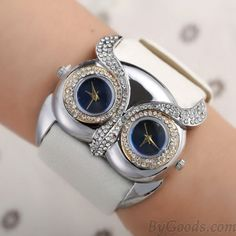 58fb10c63bd9e Cute Owl Inlay Diamond Double Dial Eyes Watch only  28.99