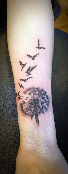 Dandelion And Birds Tattoos On Wrist...I love this idea, but with butterflies for my angels.