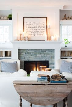 White Winter Mantel Decor The Lilypad Cottage Home Fireplace, Fireplace Design, Fireplace Surrounds, Propane Fireplace, Fireplace Seating, Fireplace Update, Fireplace Bookshelves, Fireplace Furniture, Stone Fireplaces