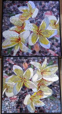 Ungrouted & grouted frangipani glass mosaic on wrought iron table. R1500.00  SOLD