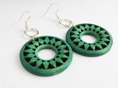Green Wooden Earrings Wood Silver Green by TheBlackerTheBerry