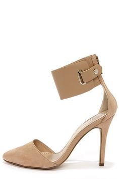 Ines 11 Taupe Suede Ankle Cuff Pointed Pumps at LuLus.com!| Looks like the Fergie one but all nude