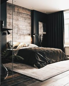 Industrial Bedroom Furniture, Industrial Bedroom Design, Bedroom Furniture Sets, Bedroom Ideas, Furniture Vintage, Furniture Showroom, Luxury Furniture, Vintage Lamps, Black Bedroom Design