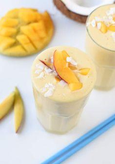 MANGO SMOOTHIE DAIRY FREE Healthy #mangosmoothie #easy #healthy #smoothie #vegan #dairyfree #dairyfreesmoothie #frozen #mango Mango Spinach Smoothie, Mango Smoothie Healthy, Vegan Smoothie Recipes, Turmeric Smoothie, Ginger Smoothie, Coconut Smoothie, Smoothie Ingredients, Dairy Free Yogurt, Vegan Yogurt