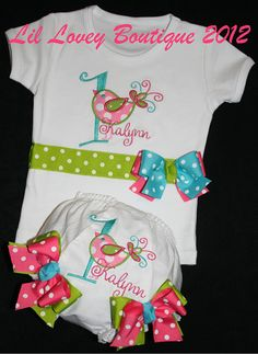 "Birthday Frills....2PC Custom ""TWEET AND FRILLY"" Bird Bodysuit or T-Shirt With Matching Diaper Cover For Baby Girl or Toddler"