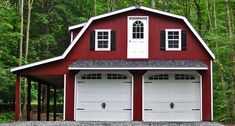 cool home exterior design using gambrel roof plus white garage doors and red wooden siding
