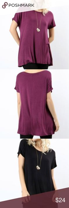 The Essential Top S M L Beautiful essential top, wear with any pant, jeans, leggings or jeggings. Available in colors Magenta, Black, Navy. Sizes S M L Fabric is Rayon and spandex   Small fits sizes 4 to 6 Med fits sizes 8 to.10 Large fits sizes 12 to.14 Boutique Tops Tunics