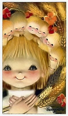Cute Big Eyed Art by Juan Ferrándiz Vintage Christmas Cards, Christmas Art, Vintage Cards, Illustrator, Kids Poems, Spanish Painters, Sacred Art, Cute Illustration, Christmas Illustration