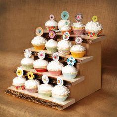 Modern Rough Wood Cupcake Tier Stand