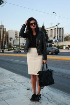 street style, Athens, Greece, black and white, leather, black leather, leather jacket, white pencil skirt, sneakers, sneakers outfit