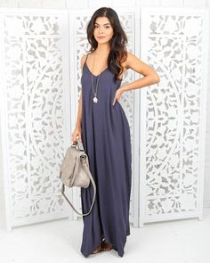 Olivian Maxi Dress - Denim Blue
