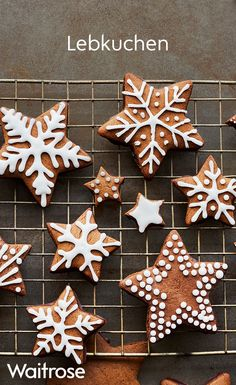 These German biscuits are like gingerbread, but spicier. They're great enjoyed with a classic hot chocolate with cream and marshmallows. Check out the Waitrose website for more delicious bakes. Galletas Cookies, Xmas Cookies, Gingerbread Cookies, Christmas Candy, Christmas Time, Christmas Crafts, Christmas Decorations, German Biscuits, German Christmas Biscuits