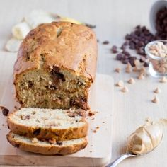 Soft, delicious banana bread with little nuggets of peanut butter and chocolate