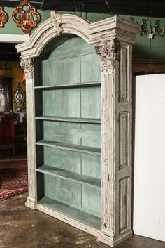 Pair of Louis XIV French Carved Painted Bookcases Made with Antique Elements 5