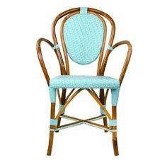 Light Azure U0026 White Mediterranean Bistro Armchair | Our Most Popular Chair!  These Rattan