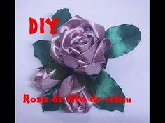 Rosa de fita de cetim / Rose satin ribbon - YouTube