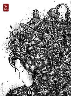 Illustration by Nanami Cowdroy Ink Illustrations, Illustration Art, Designer Couch, Flower Shower, Wow Art, Black And White Illustration, Nanami, Art For Art Sake, Graffiti Art