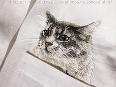 embroidered cat pockets by hiroko kubota