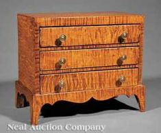0196: Miniature Tiger Maple Chest of Drawers