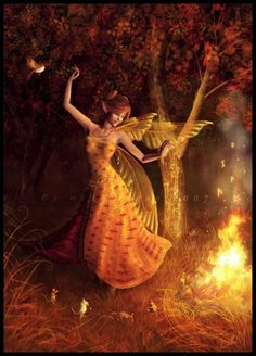 A fairy dancing with the fire