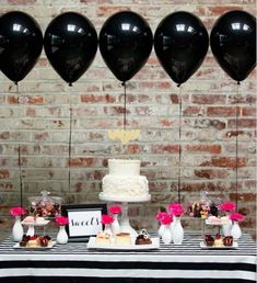 Pink and black dessert table Simple Bridal Shower, Bridal Shower Tables, Tropical Bridal Showers, Birthday Decorations At Home, Bachelorette Decorations, Bridal Shower Decorations, Black Dessert, Birthday Ideas For Her, Birthday Party Snacks