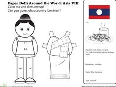 First Grade Geography Paper Dolls Community & Cultures Worksheets: Paper Dolls Around the World: Laos Multicultural Activities, Educational Activities, Learning Activities, Kids Learning, Activities For Kids, Teaching Geography, World Geography, My Father's World, Story Of The World