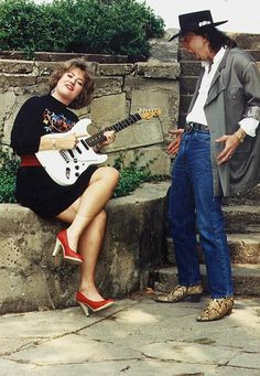 Stevie Ray Vaughan and DJ Jill Savage, Stevie Ray Vaughan, Eric Clapton, Dallas, Blues Artists, Blues Music, Blues Rock, Music Icon, Jimi Hendrix, Rock And Roll