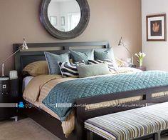 دیزاین و تزیین اتاق خواب با رنگ ها سفید و آبی